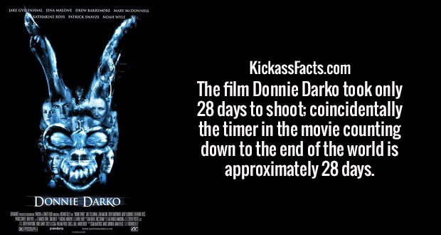 The film Donnie Darko took only 28 days to shoot; coincidentally the timer in the movie counting down to the end of the world is approximately 28 days.