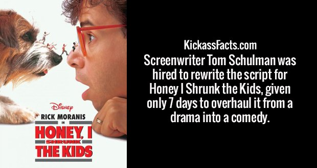 Screenwriter Tom Schulman was hired to rewrite the script for Honey I Shrunk the Kids, given only 7 days to overhaul it from a drama into a comedy.