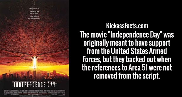 """The movie """"Independence Day"""" was originally meant to have support from the United States Armed Forces, but they backed out when the references to Area 51 were not removed from the script."""