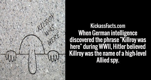 "When German intelligence discovered the phrase ""Killroy was here"" during WWII, Hitler believed Killroy was the name of a high-level Allied spy."