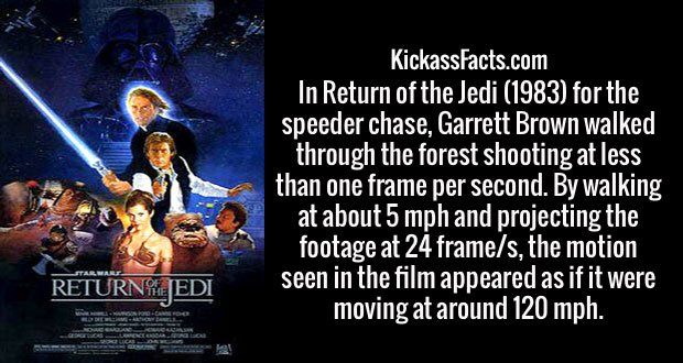 In Return of the Jedi (1983) for the speeder chase, Garrett Brown walked through the forest shooting at less than one frame per second. By walking at about 5 mph and projecting the footage at 24 frame/s, the motion seen in the film appeared as if it were moving at around 120 mph.