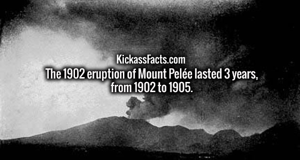 The 1902 eruption of Mount Pelée lasted 3 years, from 1902 to 1905.