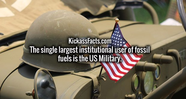 The single largest institutional user of fossil fuels is the US Military.