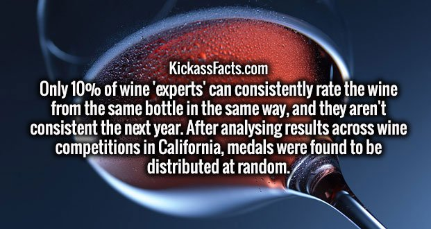 Only 10% of wine 'experts' can consistently rate the wine from the same bottle in the same way, and they aren't consistent the next year. After analysing results across wine competitions in California, medals were found to be distributed at random.
