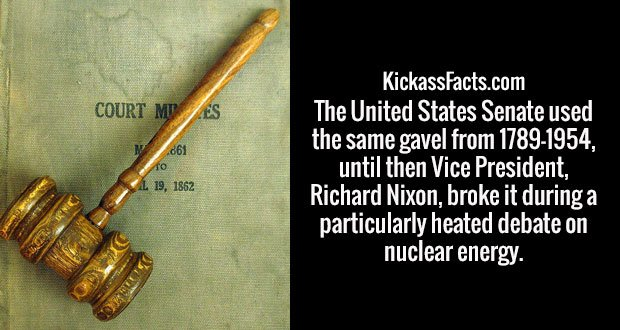The United States Senate used the same gavel from 1789-1954, until then Vice President, Richard Nixon, broke it during a particularly heated debate on nuclear energy.
