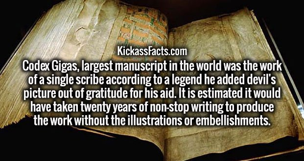 Codex Gigas, largest manuscript in the world was the work of a single scribe according to a legend he added devil's picture out of gratitude for his aid. It is estimated it would have taken twenty years of non-stop writing to produce the work without the illustrations or embellishments.
