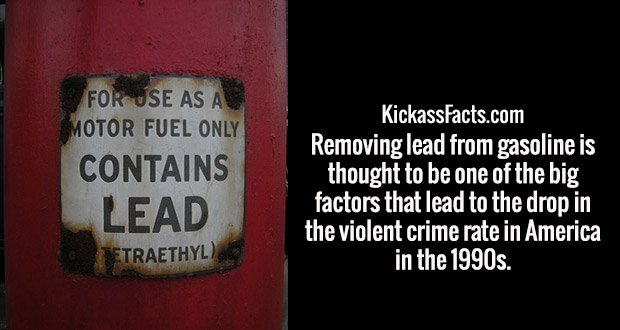 Removing lead from gasoline is thought to be one of the big factors that lead to the drop in the violent crime rate in America in the 1990s.