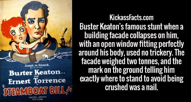Buster Keaton's famous stunt when a building facade collapses on him, with an open window fitting perfectly around his body, used no trickery. The facade weighed two tonnes, and the mark on the ground telling him exactly where to stand to avoid being crushed was a nail.