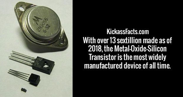 With over 13 sextillion made as of 2018, the Metal-Oxide-Silicon Transistor is the most widely manufactured device of all time.