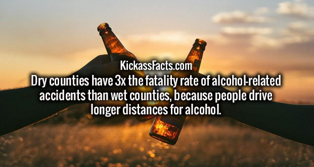 Dry counties have 3x the fatality rate of alcohol-related accidents than wet counties, because people drive longer distances for alcohol.