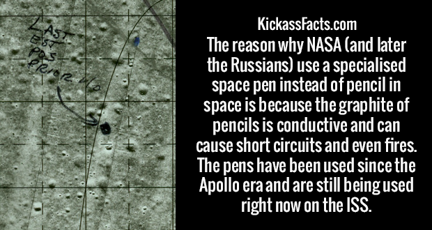The reason why NASA (and later the Russians) use a specialised space pen instead of pencil in space is because the graphite of pencils is conductive and can cause short circuits and even fires. The pens have been used since the Apollo era and are still being used right now on the ISS.