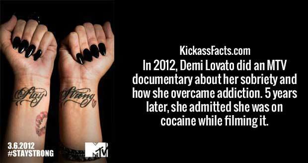 In 2012, Demi Lovato did an MTV documentary about her sobriety and how she overcame addiction. 5 years later, she admitted she was on cocaine while filming it.
