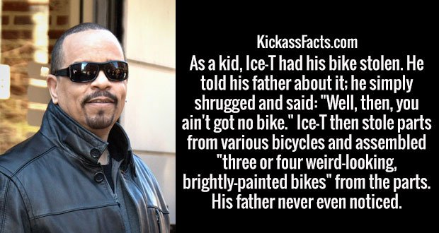 """As a kid, Ice-T had his bike stolen. He told his father about it; he simply shrugged and said: """"Well, then, you ain't got no bike."""" Ice-T then stole parts from various bicycles and assembled """"three or four weird-looking, brightly-painted bikes"""" from the parts. His father never even noticed."""