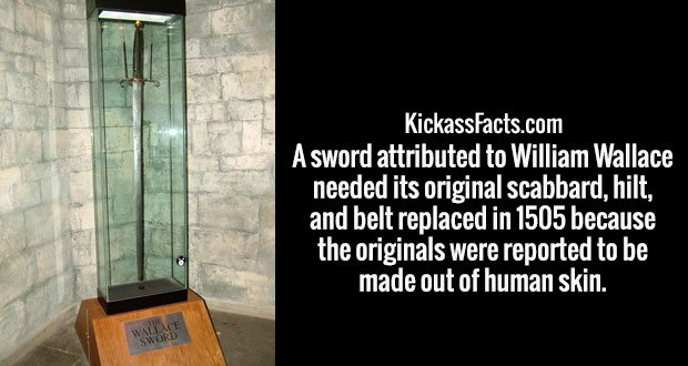 A sword attributed to William Wallace needed its original scabbard, hilt, and belt replaced in 1505 because the originals were reported to be made out of human skin.