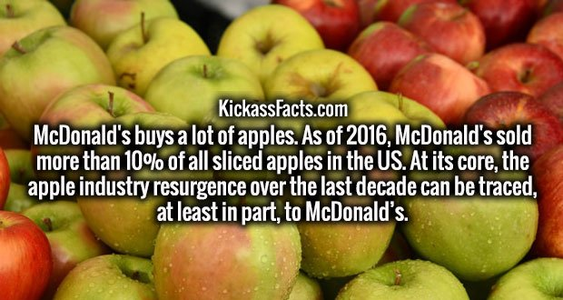 McDonald's buys a lot of apples. As of 2016, McDonald's sold more than 10% of all sliced apples in the US. At its core, the apple industry resurgence over the last decade can be traced, at least in part, to McDonald's.