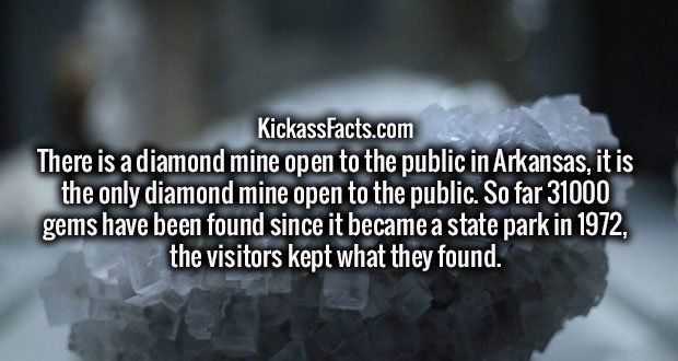 There is a diamond mine open to the public in Arkansas, it is the only diamond mine open to the public. So far 31000 gems have been found since it became a state park in 1972, the visitors kept what they found.