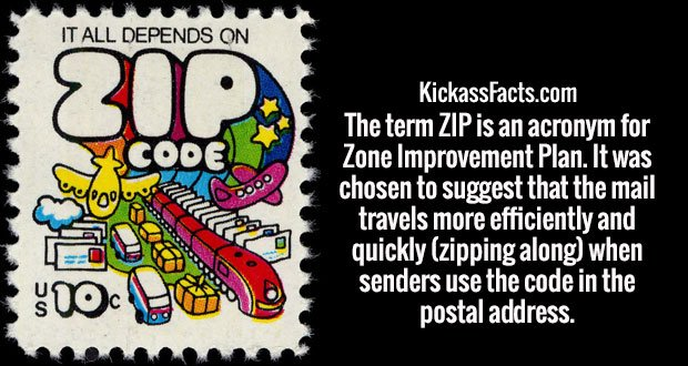 The term ZIP is an acronym for Zone Improvement Plan. It was chosen to suggest that the mail travels more efficiently and quickly (zipping along) when senders use the code in the postal address.