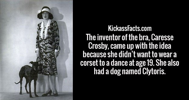 The inventor of the bra, Caresse Crosby, came up with the idea because she didn't want to wear a corset to a dance at age 19. She also had a dog named Clytoris.
