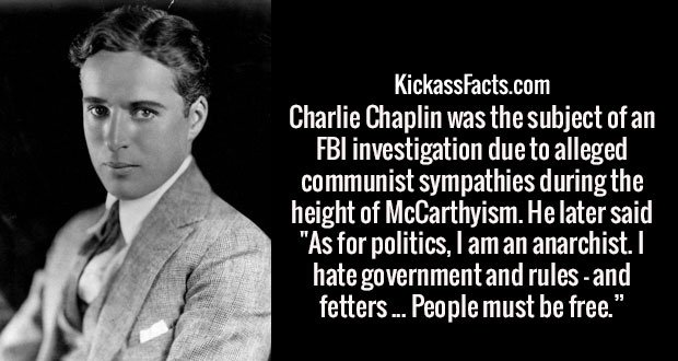 "Charlie Chaplin was the subject of an FBI investigation due to alleged communist sympathies during the height of McCarthyism. He later said ""As for politics, I am an anarchist. I hate government and rules - and fetters ... People must be free."""