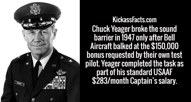 Chuck Yeager broke the sound barrier in 1947 only after Bell Aircraft balked at the $150,000 bonus requested by their own test pilot. Yeager completed the task as part of his standard USAAF $283/month Captain's salary.