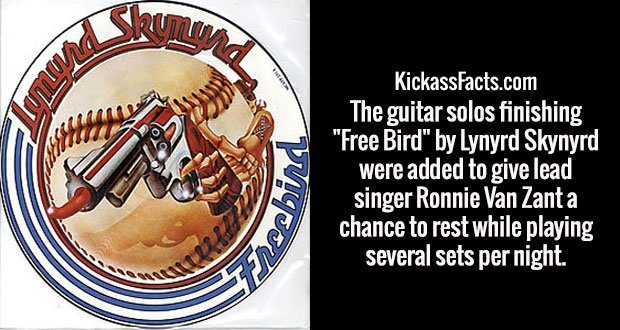 """The guitar solos finishing """"Free Bird"""" by Lynyrd Skynyrd were added to give lead singer Ronnie Van Zant a chance to rest while playing several sets per night."""