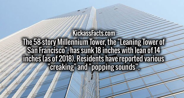 """The 58-story Millennium Tower, the """"Leaning Tower of San Francisco"""", has sunk 18 inches with lean of 14 inches (as of 2018). Residents have reported various """"creaking"""" and """"popping sounds""""."""