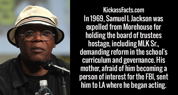 In 1969, Samuel L Jackson was expelled from Morehouse for holding the board of trustees hostage, including MLK Sr., demanding reform in the school's curriculum and governance. His mother, afraid of him becoming a person of interest for the FBI, sent him to LA where he began acting.
