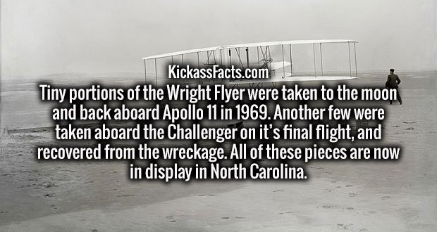 Tiny portions of the Wright Flyer were taken to the moon and back aboard Apollo 11 in 1969. Another few were taken aboard the Challenger on it's final flight, and recovered from the wreckage. All of these pieces are now in display in North Carolina.