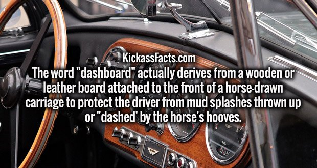 """The word """"dashboard"""" actually derives from a wooden or leather board attached to the front of a horse-drawn carriage to protect the driver from mud splashes thrown up or """"dashed' by the horse's hooves."""