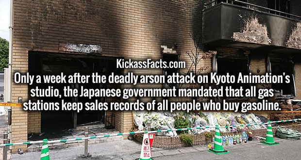 Only a week after the deadly arson attack on Kyoto Animation's studio, the Japanese government mandated that all gas stations keep sales records of all people who buy gasoline.