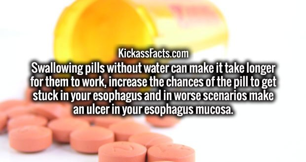 Swallowing pills without water can make it take longer for them to work, increase the chances of the pill to get stuck in your esophagus and in worse scenarios make an ulcer in your esophagus mucosa.
