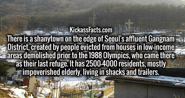 There is a shanytown on the edge of Seoul's affluent Gangnam District, created by people evicted from houses in low-income areas demolished prior to the 1988 Olympics, who came there as their last refuge. It has 2500-4000 residents, mostly impoverished elderly, living in shacks and trailers.