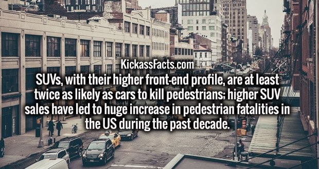 SUVs, with their higher front-end profile, are at least twice as likely as cars to kill pedestrians; higher SUV sales have led to huge increase in pedestrian fatalities in the US during the past decade.