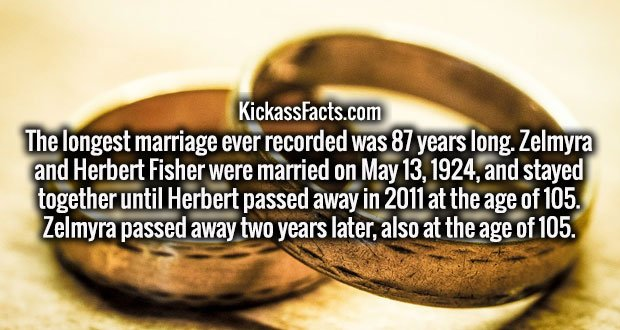 The longest marriage ever recorded was 87 years long. Zelmyra and Herbert Fisher were married on May 13, 1924, and stayed together until Herbert passed away in 2011 at the age of 105. Zelmyra passed away two years later, also at the age of 105.