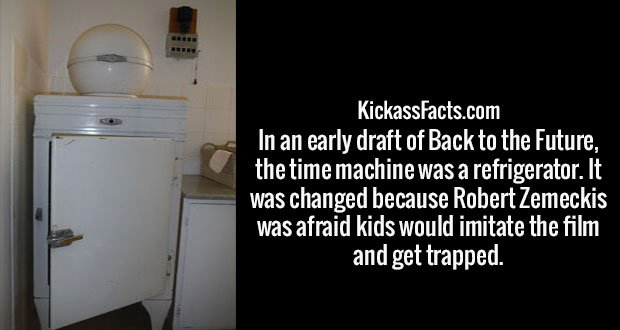 In an early draft of Back to the Future, the time machine was a refrigerator. It was changed because Robert Zemeckis was afraid kids would imitate the film and get trapped.