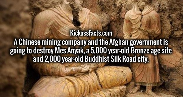A Chinese mining company and the Afghan government is going to destroy Mes Anyak, a 5,000 year-old Bronze age site and 2,000 year-old Buddhist Silk Road city.