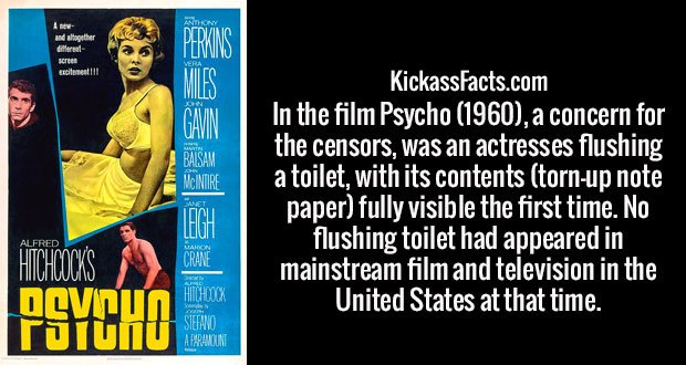 In the film Psycho (1960), a concern for the censors, was an actresses flushing a toilet, with its contents (torn-up note paper) fully visible the first time. No flushing toilet had appeared in mainstream film and television in the United States at that time.