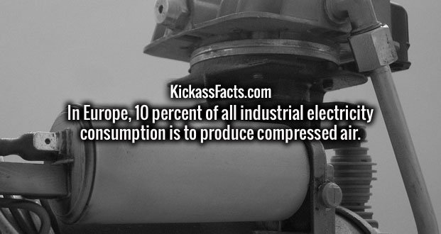 In Europe, 10 percent of all industrial electricity consumption is to produce compressed air.