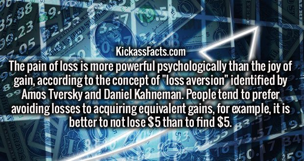 "The pain of loss is more powerful psychologically than the joy of gain, according to the concept of ""loss aversion"" identified by Amos Tversky and Daniel Kahneman. People tend to prefer avoiding losses to acquiring equivalent gains, for example, it is better to not lose $5 than to find $5."