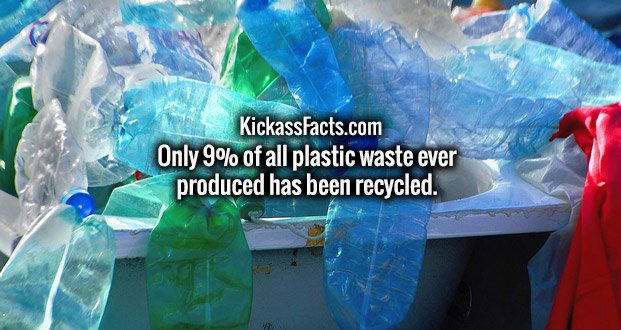Only 9% of all plastic waste ever produced has been recycled.