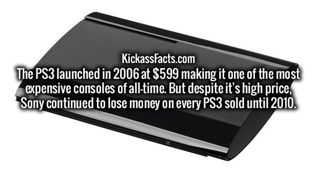 The PS3 launched in 2006 at $599 making it one of the most expensive consoles of all-time. But despite it's high price, Sony continued to lose money on every PS3 sold until 2010.