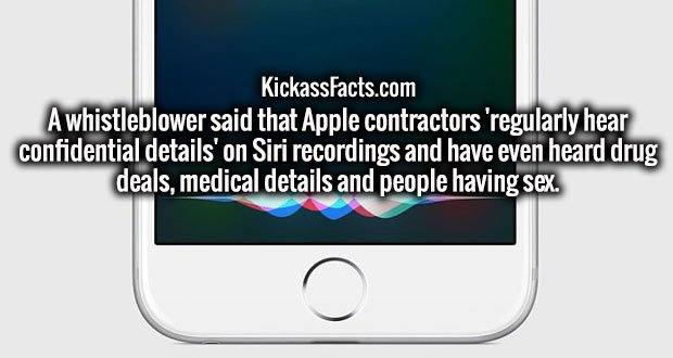 A whistleblower said that Apple contractors 'regularly hear confidential details' on Siri recordings and have even heard drug deals, medical details and people having sex.