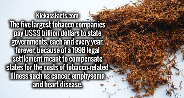 The five largest tobacco companies pay US$9 billion dollars to state governments, each and every year, forever, because of a 1998 legal settlement meant to compensate states for the costs of tobacco-related illness such as cancer, emphysema and heart disease.