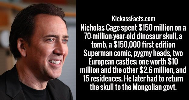 Nicholas Cage spent $150 million on a 70-million-year-old dinosaur skull, a tomb, a $150,000 first edition Superman comic, pygmy heads, two European castles; one worth $10 million and the other $2.6 million, and 15 residences. He later had to return the skull to the Mongolian govt.