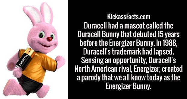 Duracell had a mascot called the Duracell Bunny that debuted 15 years before the Energizer Bunny. In 1988, Duracell's trademark had lapsed. Sensing an opportunity, Duracell's North American rival, Energizer, created a parody that we all know today as the Energizer Bunny.