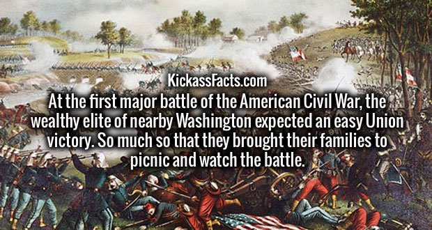 At the first major battle of the American Civil War, the wealthy elite of nearby Washington expected an easy Union victory. So much so that they brought their families to picnic and watch the battle.