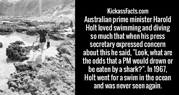 "Australian prime minister Harold Holt loved swimming and diving so much that when his press secretary expressed concern about this he said, ""Look, what are the odds that a PM would drown or be eaten by a shark?"". In 1967, Holt went for a swim in the ocean and was never seen again."