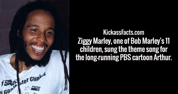 Ziggy Marley, one of Bob Marley's 11 children, sung the theme song for the long-running PBS cartoon Arthur.