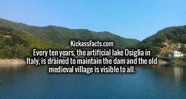 Every ten years, the artificial lake Osiglia in Italy, is drained to maintain the dam and the old medieval village is visible to all.