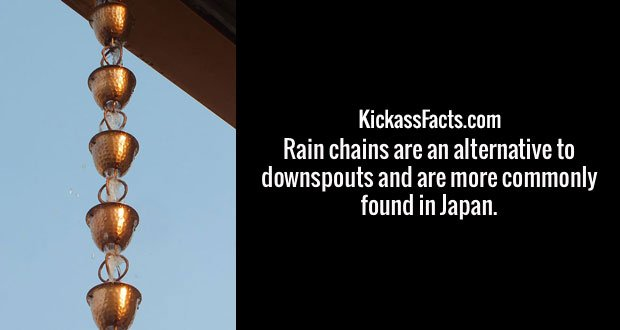 Rain chains are an alternative to downspouts and are more commonly found in Japan.